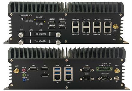 FleetPC-9-B-GTX1060 Car-PC (Intel Core i7-8700T 6x4.0Ghz, NVIDIA GeForce GTX 1060 GPU, Autostart-Controller, 9-48V Automotive PSU, 10x LAN, 3x dP, 4x HDMI) [<b>FANLESS</b>]