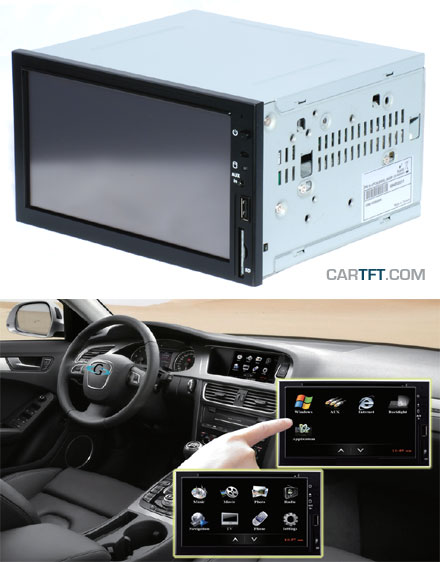 Car-PC CTFDINPC-2 Double-DIN Car-PC Barebone (Intel Mobile M 1.5Ghz, 1GB RAM, AM/FM Radio, Bluetooth, DVD)