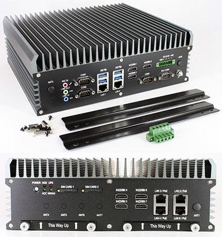 FleetPC-9-E9260 Car-PC (Intel Core i7-6700TE 4x3.4Ghz, AMD Embedded Radeon E9260 GPU, Autostart-Controller, 9-48V Automotive PSU, 6x LAN, 7x HDMI) [<b>FANLESS</b>]