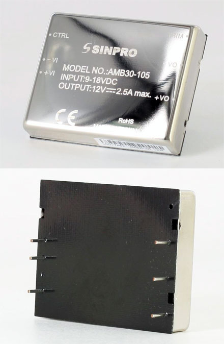 Sinpro AMB30-105 (DC-DC converter from 9-18V to 12V, max. 2.5A)